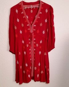 Free People Red & White Peasant Style Top Size XS
